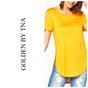 ARITZIA TNA GOLDEN raw hem Mustard Yellow T-Shirt